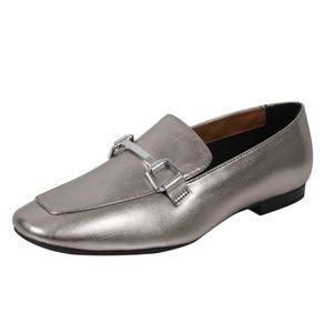 Shoes - Pewter Gold Tone Horsebit Loafer Low Heel Sandal